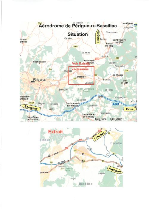Plan de situation - Aérodrome Périgueux-Bassillac